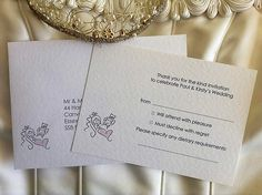 Bride and Groom RSVP Cards and Envelopes form part of a Wedding Stationery Range. Affordable Wedding Stationery, UK Printing Company.