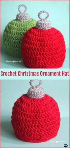 A collection of #Crochet #Christmas Hat Gifts Free Patterns. Crochet Gifts for holidays with festive red, green and white, and a festive hat design.