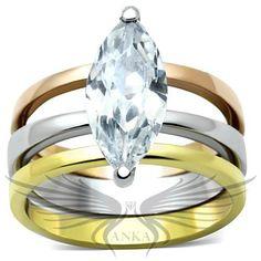 Brilliant Marquise Cubic Zircon CZ AAA Three Tone Wedding Set 5 6 7 8 9 10 TK964 #Anka