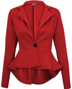 Crazy Girls Womens Ladies Fitted Dip Hem Peplum Style Blazer Jacket at Amazon Women's Clothing store: Shrug Sweaters