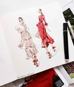 Fashion Illustration Speed Painting with Ink - Drawing On Demand Fashion Model Sketch, Fashion Design Sketchbook, Fashion Illustration Sketches, Fashion Design Drawings, Illustration Mode, Fashion Sketches, Dress Sketches, Drawing Fashion, Design Illustrations