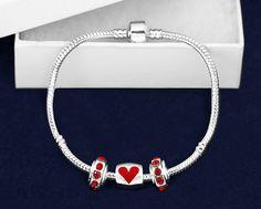 10 Heart Chunky Charm Bracelets (10 Bracelets)