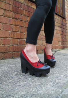 Ripsaw Dian Platform Blood Red by CHIYO   leather by shopchiyo, $150.00
