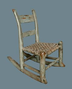 Child's Rocking Chair in Original Gray Paint