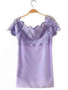 Purple Boat Neck Lace Shoulder Chiffon T-Shirt - Sheinside.com