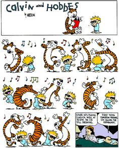Calvin And Hobbes and classical music. From Feb Playing music at 78 rpm meant over twice as fast. - May be Myles will be like Calvin :) Calvin And Hobbes Comics, Calvin And Hobbes Tattoo, Best Calvin And Hobbes, Calvin And Hobbes Wallpaper, Snoopy Charlie, Charlie Brown, Hobbes And Bacon, Beste Comics, Dance Images
