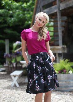 Magenta Top – ModestPop.com - modest fashion, modest skirt, modest top, knee length skirt, work apparel.