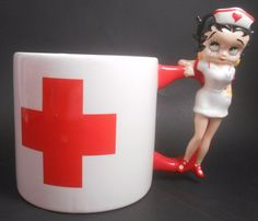 Pacific NURSE Betty Boop Large Ceramic Mug EUC Coffee Tea Cocoa Red Cross in Collectibles, Animation Art & Characters, Animation Characters | eBay