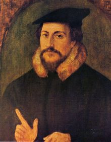 John Calvin by Holbein.... John Calvin (French: Jean Calvin French pronunciation: [ʒɑ̃ kalvɛ̃], born Jehan Cauvin: 10 July 1509 – 27 May 1564) was an influential French theologian and pastor during the Protestant Reformation.