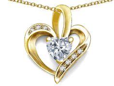 Star K Heart Shape 6mm White Topaz Pendant Necklace
