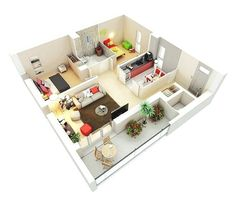 25 Two Bedroom House/Apartment Floor Plans - Particle News Apartment Layout, Apartment Design, Bedroom Apartment, 3d House Plans, Small House Plans, Home Design Plans, Plan Design, Design Ideas, Two Bedroom House