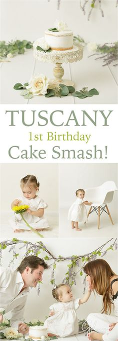1st birthday, Tuscany, Italy, cake smash photographer, Orange County, CA. white outfits, baby girl, one year old, smash cake, sunflower, first birthday portraits by GilmoreStudios.com