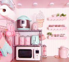 Dorm Kitchen, Real Kitchen, Mini Kitchen, Kitchen Decor, Kitchen Things, Pink Green Bedrooms, Pink Room, Pink Microwave, Cozinha Shabby Chic