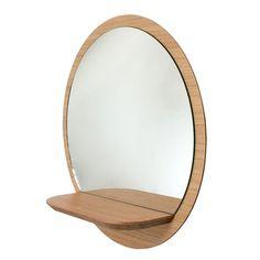 Miroir rond en panneaux plaqué Sunrise M REINE MÈRE : prix, avis & notation, livraison.  Miroir rond en panneaux plaqué Chêne avec une tablette en Chêne massif.