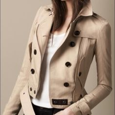 Burberry beige cropped studded undercollar trench Burberry Brit beige cropped studded undercollar trench coat-- item sold out-- last seen for $1150 at Burberry US Burberry Jackets & Coats Trench Coats