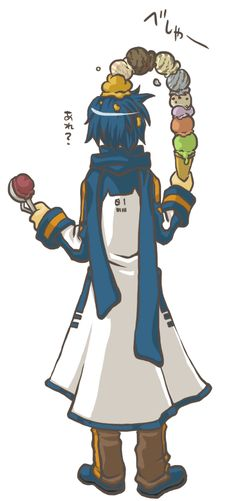 Kaito, don't be greedy.... You can get all ice creams one by one....