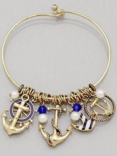 Anchor Bracelet 2 COLORS Thin Metal Bangle Stripe Helm Nautical SILVER GOLD BLUE    eBay