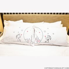 Miss Us Together Couple Pillowcases-BoldLoft offers romantic couple pillowcases which are truly one-of-a kind and make them perfect for couples. Cute and playful design themes make these boy meets girl love pillow cases are unique gifts for couples, husband, wife, brides, anniversary, wedding, Valentines, birthday, engagement or any occasion in your mind.