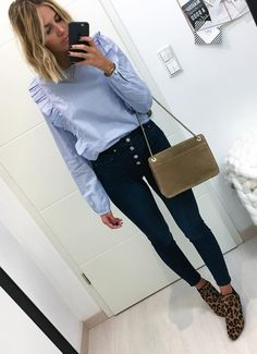 #fall #outfits  women's blue crew-neck long-sleeve shirt with blue fitted jeans