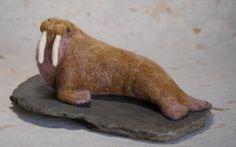 Needle felted walrus by Joshua Gardner Featured on www.livingfelt.blog