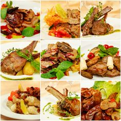 Collage from various kinds of #Organic meat dishes.