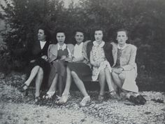 1940's French Photo  Five Women Sat Outside On a by ChicEtChoc
