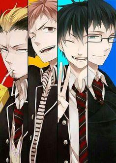 Ryuji Suguro, Renzo Shima, Rin Okumura, and Yukio Okumara (Blue Exorcist Hotties)