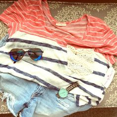 NWT Striped Red Cream & Navy Top with Lace Pocket Start the summer off right in this NWT Striped Red Cream & Navy Top with Lace Pocket. So cute and comfortable!!  Perfect for the Fourth  Size Large.    See Closet for Fossil Watch and Blue Mirror Aviators!! Tops Tees - Short Sleeve