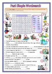 English worksheet: Past simple wordsearch