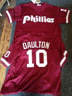 7757c3392 Mens Mitchell   Ness Retro  Phillies Darren Daulton 1992 Batting Practice  Jersey
