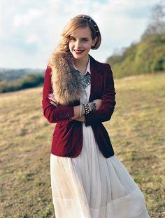 Emma Watson in Vogue // White Button Down, White Maxi Skirt, ...
