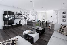 Idee per arredare il soggiorno in bianco e nero n.13