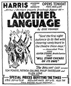80 best harris theatre 170 north dearborn street chicago illinois Destroyer Movie promotional ad for the 1932 premiere chicago production of the rose franken play another language at the harris theatre