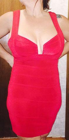 Sexy Red Body Con Dress  By Tadashi #Tadashi  #Clubwear