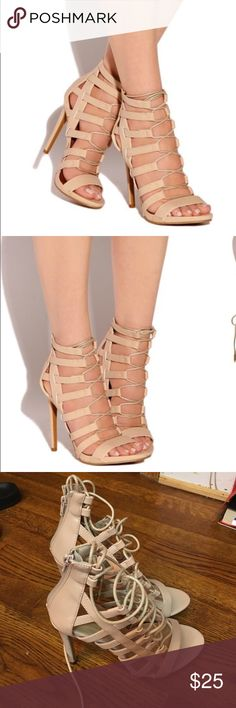 Nude Strappy High Heels from Lolashoetique Cute nude Strappy heels from Lolashoetique. Good condition, never worn Missguided Shoes Heels