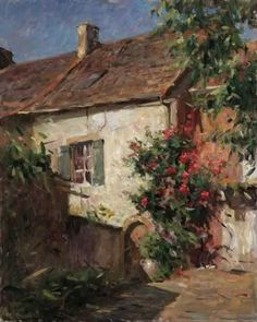 ۩۩ Painting the Town ۩۩ city, town, village & house art - Leonard Wren | Cottage of Roses