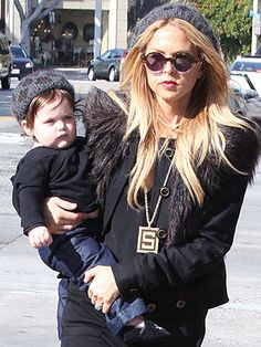 Awww! Stylist Rachel Zoe and son Skyler were out and about in the same Eugenia Kim leopard print beret.