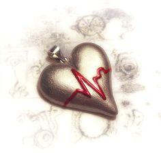 ECG heart pendant  Heart disease awareness necklace by UraniaArt, €11.00