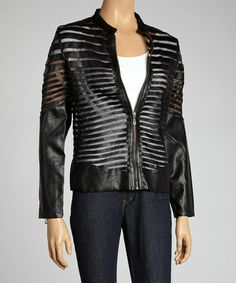 Take a look at this Black Mesh Zip-Up Jacket by Romance on #zulily today! $80 !!