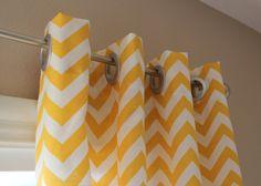 Custom Curtain Panels Yellow White Zig Zag Chevron with Grommets. $155.00, via  20DaisyStreet on Etsy.
