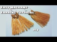 A quick and easy video tutorial on how to make macrame earrings! All you need are earring hooks, rings for earrings, bead (optional), and cotton rope (color . Diy Thread Earrings, Diy Earrings Easy, Macrame Earrings Tutorial, Macrame Tutorial, Earring Tutorial, Macrame Knots, Micro Macrame, Diy Jewelry Tutorials, Macrame Patterns