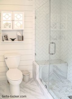 Budget+Bathroom+Remodel - herringbone subway pattern