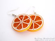 Orange dangle round quilling earrings food by QuillingWonderland, $13.00