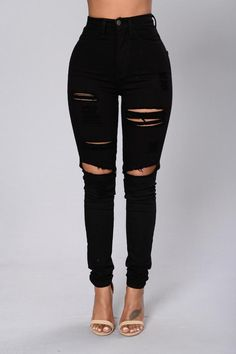 Blanched Jeans - Black | Fashion Nova