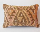 16x24 Handwoven kilim pillow embroidered accent pillow cover vintage decorative throw pillow case sofa turkish cushion cover pastel orange