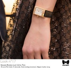 Seen at #JLCandAlexisMabille fashion show: the Grande #Reverso Lady #UltraThin #watch. Technical details: 18-carat Pink Gold, 31 diamonds, Hand-winding movement, Alligator leather strap. Reference: 3202421