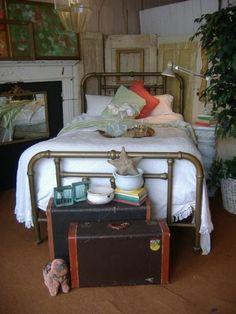 Brass Art Nouveau Bed Vintage Antique Double Full #ArtNouveau