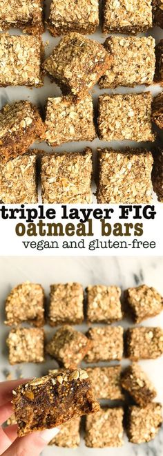 triple later FIG oatmeal bars! vegan, gluten-free fig bars made with an oatmeal crust and sweetened with dates, figs and a little coconut sugar. so easy to make and a healthier fig newton!