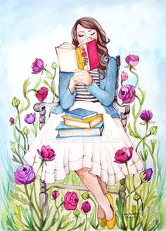 Read books water color