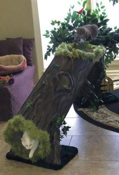 Cat Tree Furniture With Leaves - Luxury Cat Tree - A Fantasy Forest